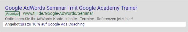 Google Ads Angebotserweiterung