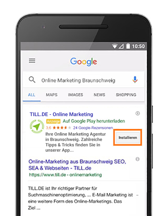 Google AdWords App-Erweiterung