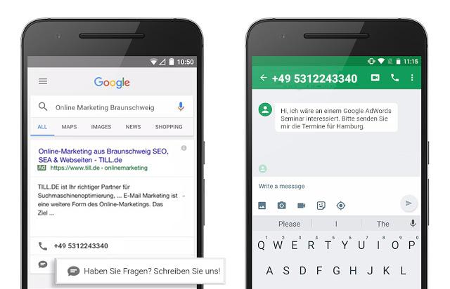 SMS Anzeigenerweiterung
